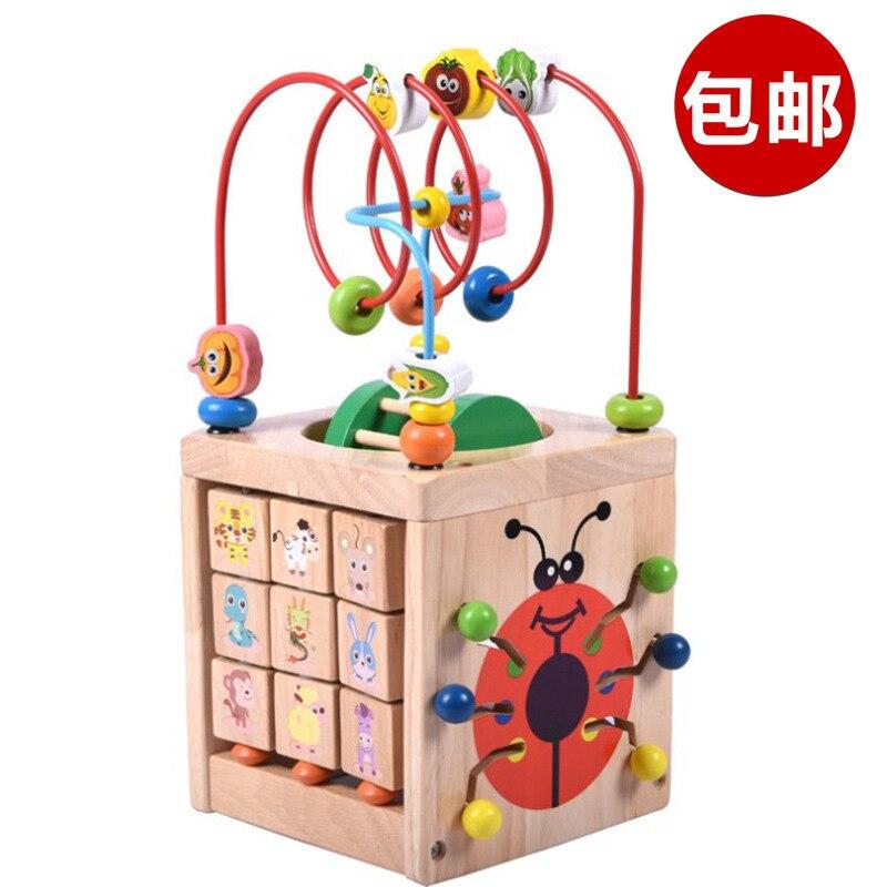 Grand jouet rond en bois perlé multi-fonction perlé quatre faces boîte au trésor coccinelle éducation précoce pour enfants enligh