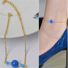 2016  Elegant Gold Silver Chain Blue Crystal Bead Anklet Barefoot Crochet Barefoot Sandals  Hot