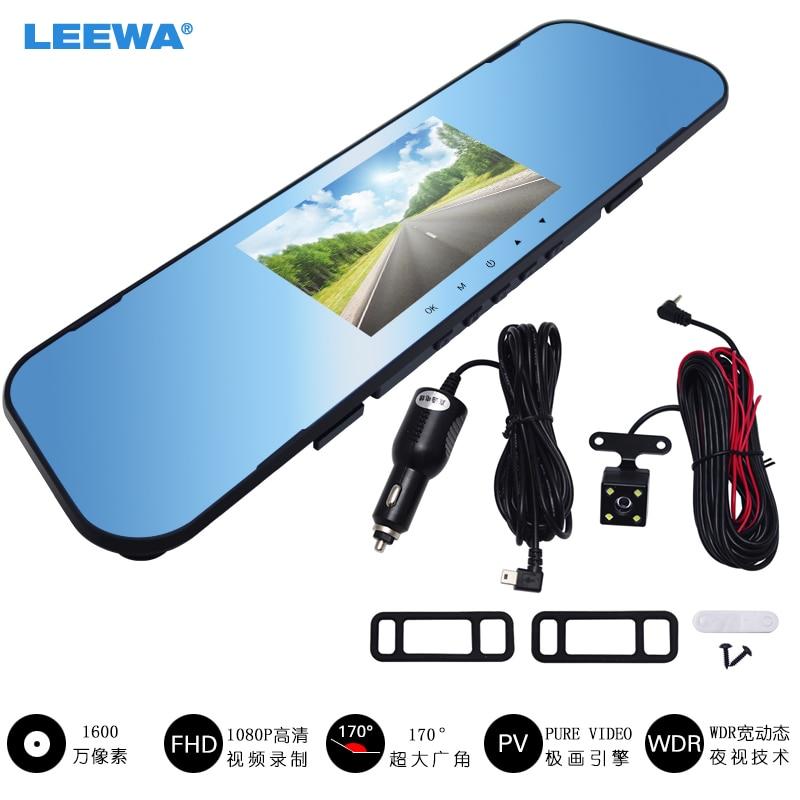 LEEWA 4.3 Rearview Mirror 1080p Car DVR Dual Lens Parking Video Recorder Registrator Dash Camera Full HD Night Vision #CA1716 plusobd wifi hd dvr car rearview camera with obd2 hidden video registrator for bmw x1 e90 e91 e84 e87 1080p night vision nt96655