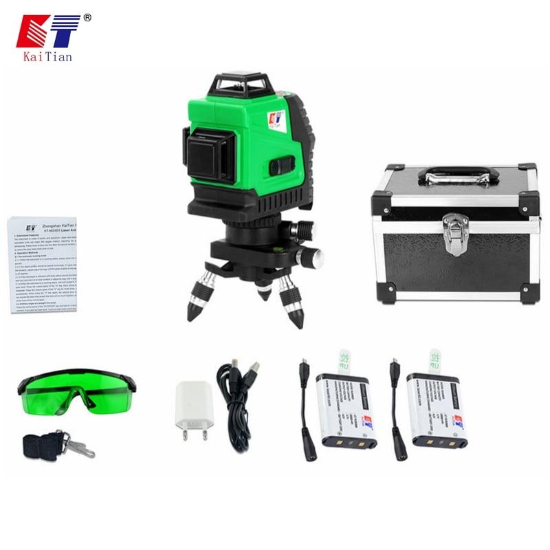 KaiTian 12 Lignes 3D Niveaux Laser Auto-Nivellement 360 Rotatif Horizontal 532nm Vertical Croix Vert Lasers Faisceau Ligne Lazer niveau Outil