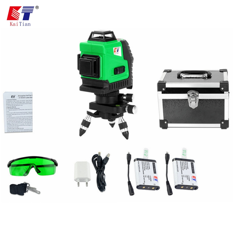 KaiTian 12 Linee 3D Livelli Laser Self-Leveling 360 Rotante Orizzontale 532nm Verticale Croce Verde Laser Linea di Fascio Lazer strumento di livello