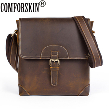 COMFORSKIN Luxurious 100% Genuine Cray Horse Leather Mens Messenger Bags 2018 New Arrivals Large Capacity Cross-body Bag Sales