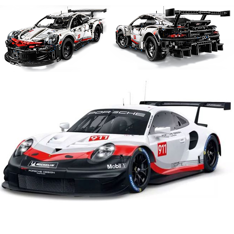 New Technic series The White Super Racing Car Model Building Blocks Compatible legoing 42096 classic car styling Toys
