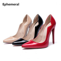 Women Sexy Shoes Super High Heels 12cm Stilettos Mujer Black Red Beige Larger Size 45 46