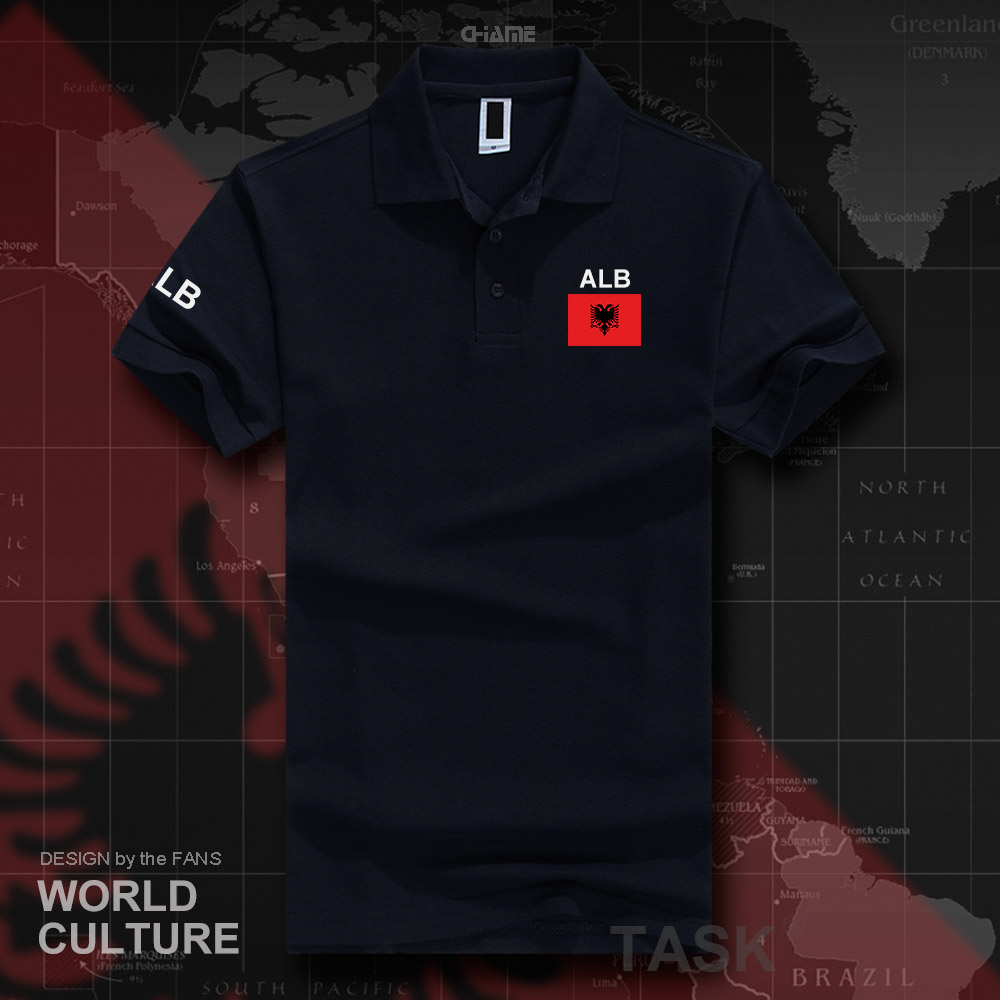 Republic of Albania ALB Albanian   polo   shirts men short sleeve brands printed for country 2017 cotton nation team flag casual