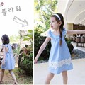 toddler baby Girls lace ruffle tulle dress,2-8y girls beach dress unique denim bow clothing kids backless dress