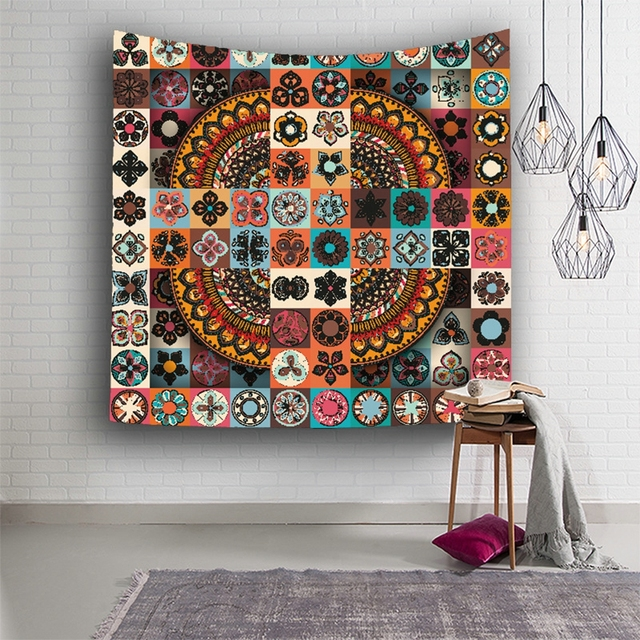 Wall Hanging Mandala Geometric Patchwork Tapestry Indian Home Decor