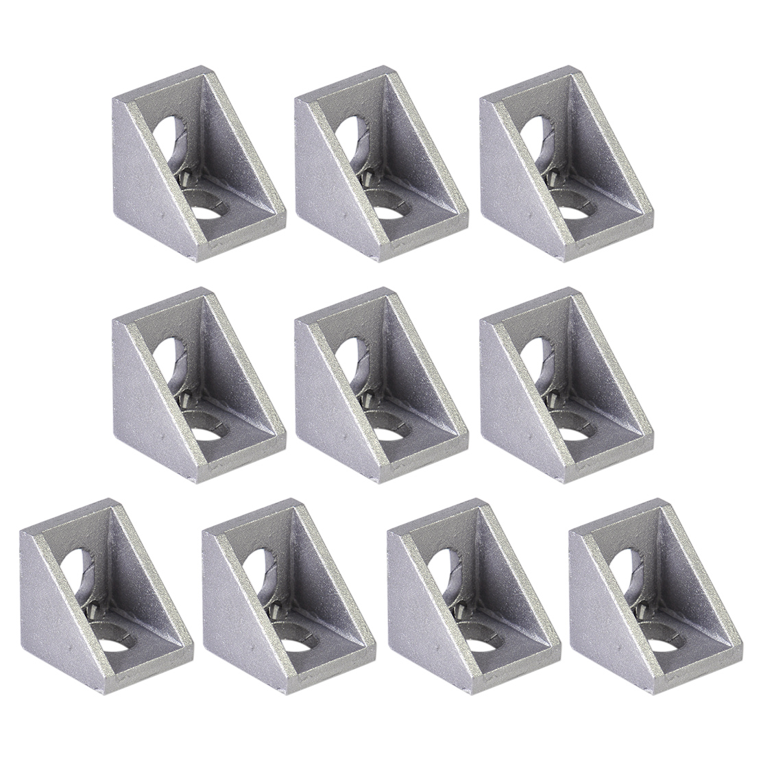 10Pcs Grey Aluminum Bracket 90 Degree Double Side L Shape Corner Joint Brace Right Angle ned 10pcs 65x65x20mm practical stainless steel corner brackets joint fastening right angle 2 5mm thickened bracket for furniture