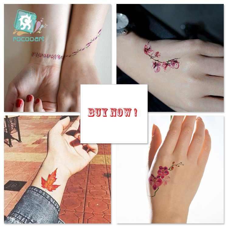MB yeşil yaprak su geçirmez geçici dövme çıkartmalar vücut sanatı sahte dövme renkli mürekkep çiçekler Taty kadın Flash Tatuagem