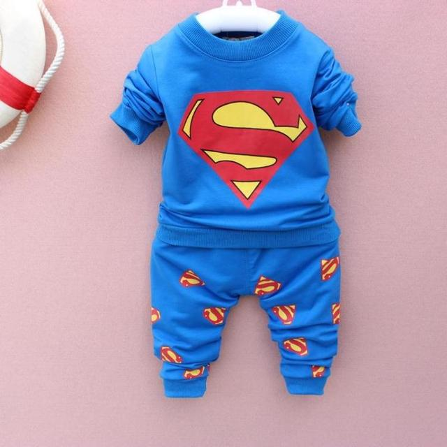 2017 Hitz Superman boys and girls cotton long-sleeved suit suit 0-1-2-3 clothing set kids clothes