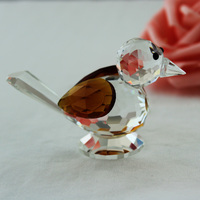 Crystal Glass Cute Sparrow Figurines Animal Paperweight Art Collection Table Ornaments Home Wedding Decoration Gifts For