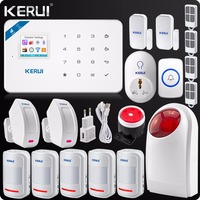 2017 New W18 Wireless Wifi GSM LCD GSM SMS Burglar Alarm System Wireless Flash Siren Curtain
