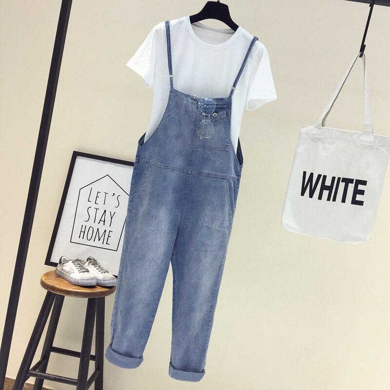 Women's ankle-length pants denim cargo pants Korean version of the loose thin large size   jumpsuit   students suspenders pants