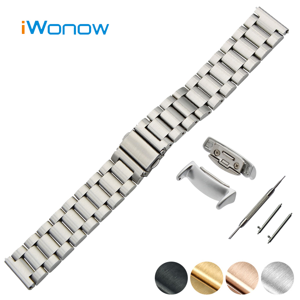 Stainless Steel Quick Release Watch Band 18mm for Samsung Gear Fit 2 SM R360 Folding Buckle