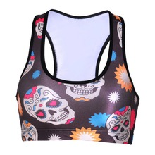 NEW 0097 Summer Sexy Girl Women skull Opera Mask 3D Prints Padded Push Up Gym Vest Top Chest Running Sport Yoga Bras