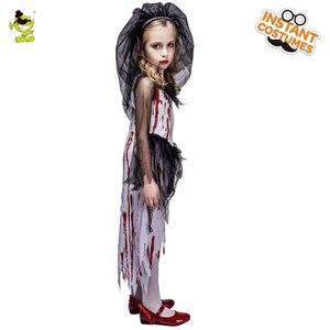 Image 2 - Neue Kinder Halloween Horror Blutigen Braut Party Kostüme Geist Braut Cosplay Kostüm Mädchen Blut Kleid maskerade vampire kleidung