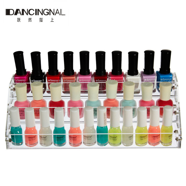 3 Layers Clear Acrylic Nail Polish Display Lipstick Cosmetic Varnish Holder Stand Case Wall Storage Makeup