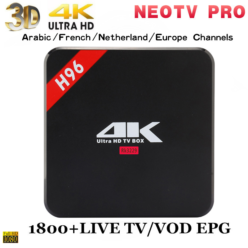 2019 Best Stable HD IPTV Arabic IPTV box android 6 0 H96 Support H 265  NEOTV PRO with 1year free subscription France Tv Player