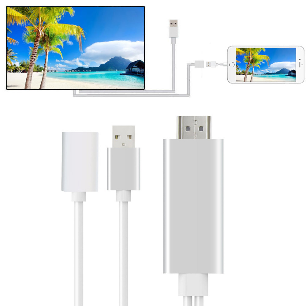 HDMI Mirroring Cable Phone to TV HDTV Adapter For iPhone Xs Max//6s//7//8 Plus//iPad