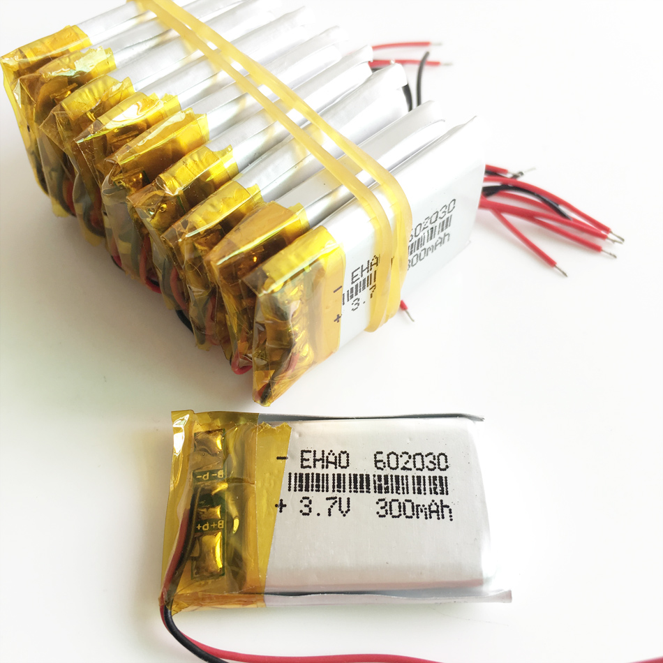 Wholesale 10 pcs 3.7V 300mAh <font><b>602030</b></font> Lithium Polymer LiPo Rechargeable Battery For Mp3 Mp4 PAD DVD DIY E-book bluetooth image
