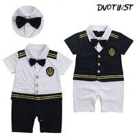 Baby Boy Ubrania Krótkie Rękawy Sailor Kapitan Marynarki Romper Outfit Halloween Cosplay Playsuit Kombinezon Dla Niemowląt Odzież Kostium