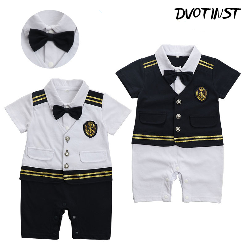 Baby Boy Clothes Short Sleeves Sailor Navy Captain Romper Halloween Cosplay Playsuit Outfit Infant Jumpsuit Clothing Costume baby photography props fotografia animals halloween cosplay bodysuit hat set plush costume outfit studio shoot playsuit clothing