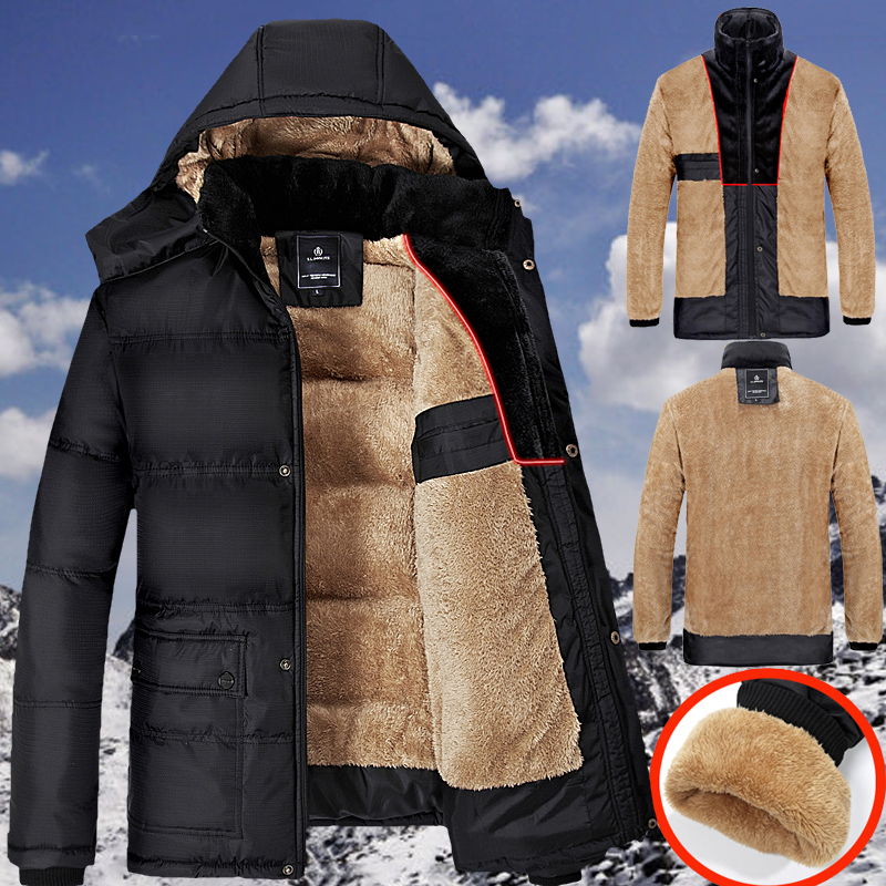 Winter Jacket Men Coats Thick Warm Casual Fur Collar Down Coat Winter Windproof Hooded Outwear Men Outwear Parkas Brand New