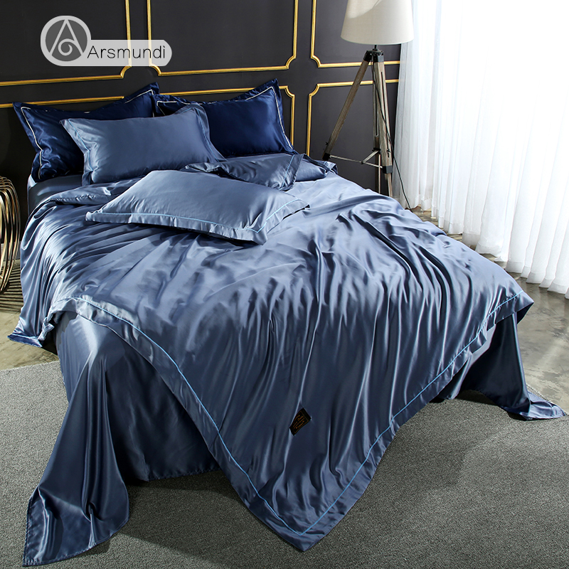 Arsmundi Luxury Gray Blue Color Bedding Set 100% Silk Home Textiles Soft Comfortable Duvet Cover Silky Bed Set With Flat Sheet
