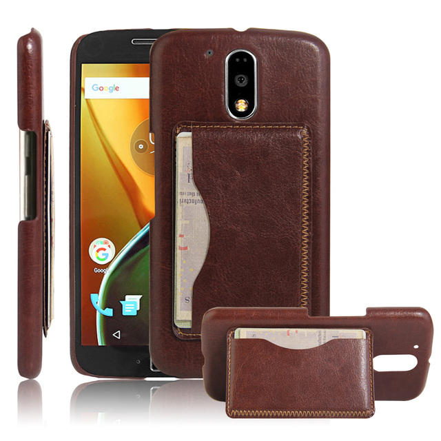 reputable site 164c6 a3b86 US $4.04 |Cyboris cover retro Genuine Leather case For Motorola Moto G4  Plus Case card slot on back cover with card holder business cover on ...