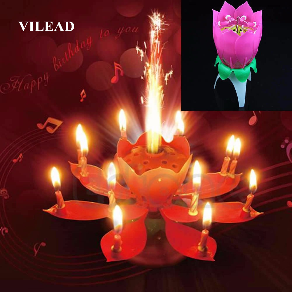 VILEAD Kort Romantisk Musical Candle Lotus Flower Party Gave Kunst Gratulerer med dagen Candle Lights Party DIY Cake Decoration for Kids