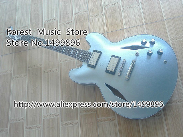 Cheap Metallic Blue Classical Dave Grohl ES-335 Electric Chinese Jazz Guitarra Body & Kits Custom Lefty Available