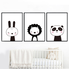Cartoon Rabbit Panda Lion Penguin Wall Art Canvas Painting Nordic Posters And Prints Animals Pictures For Kids Room Decor