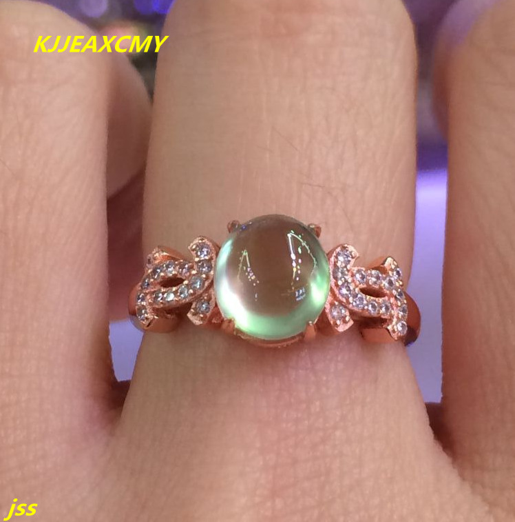 KJJEAXCMY Fine jewelry 925 silver inlaid natural stone grape trumpet female models Ladies Ring Du rose gold live wholesale and r fine jewelry 925 silver natural prehnites gemstone natural grape stone trumpet ring father s day gift