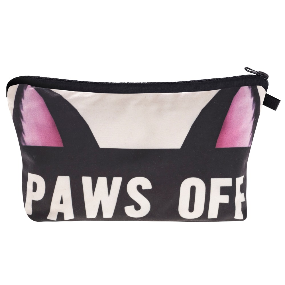 Paws Off 3D Print Makeup Bag