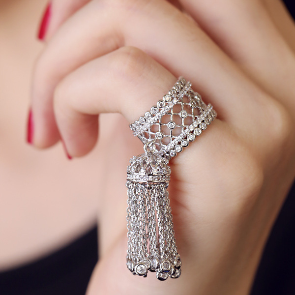 Korea custom micro-blazed Zircons from drilled wheat set luxury tassel opening ring joint Siamese ring 2934