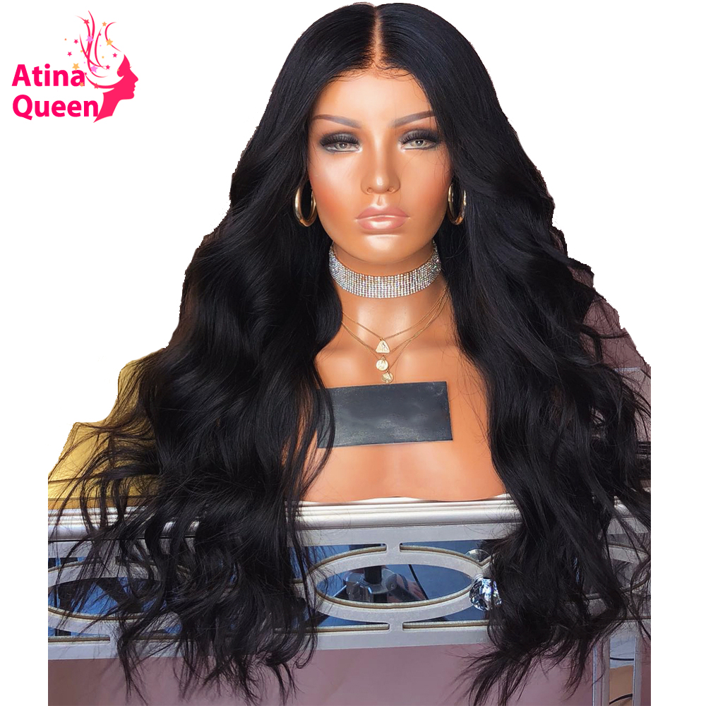 Atina Queen 180 Density Body Wave Lace Front Human Hair Wigs Natural Black for Women with
