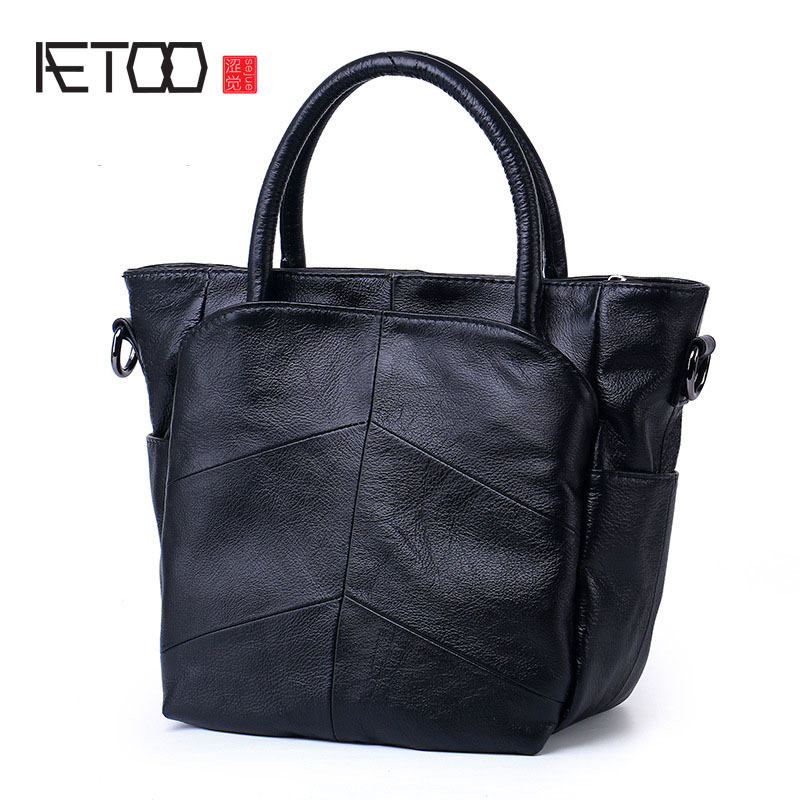 AETOO Female first layer of leather handbags casual shoulder bag wild leather handbag Messenger bag women bag the first layer of leather handbag shoulder bag handbags stitching diagonal shopping bag leather bag with large capac