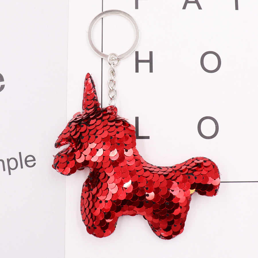 ... New Chaveiro Star Keychain Glitter Pompom Sequins unicorn Key Chain  Gifts for Women Car Bag Accessories ... f40a2b5014
