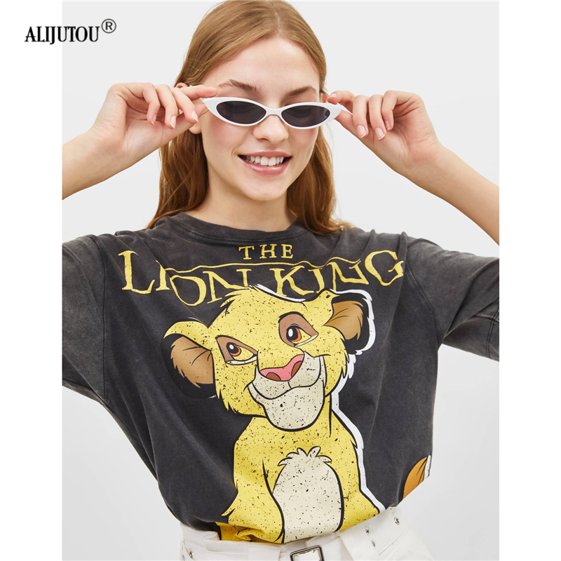 The Lion King Cartoon Print Short Sleeve   T     Shirt   Women Little lions Fashion Casual Black O Neck Tshirt Femme Graphic Tee Clothes