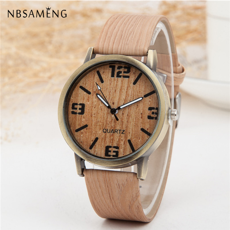 New Vintage Wooden Women Watch Men Casual Leather Strap Watches Wood Female Wristwatch Relogio Masculino Relogio Feminino LZ201 bamboo wood watches for men and women fashion casual leather strap wrist watch male relogio