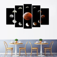RELIABLI ART 5 Panels/Set Moon Turns Around The Earth Canvas Art Print For living room Wall Pictures Modern Canvas Painting(China)