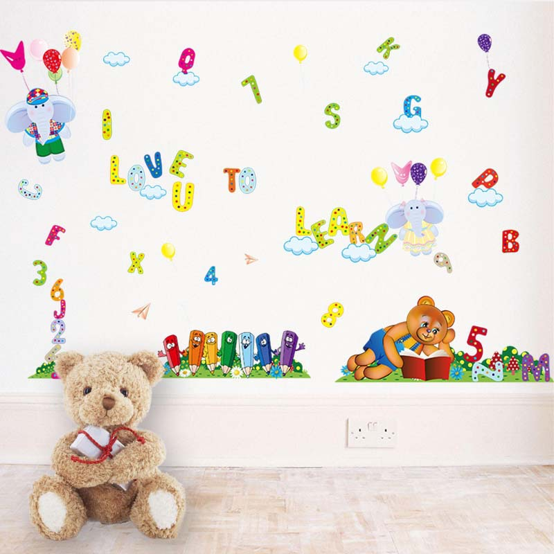 New Childrens English Alphabet Elephant Baby Wall Stickers For Kids
