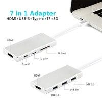 MacBook Pro için 7IN1 USB 3.0 Hub Çok Fonksiyonlu USB Tipi C 4 K Video HDMI/SD TF Kart Okuyucu USB Hub 3.0 Adaptörü Şarj Portu