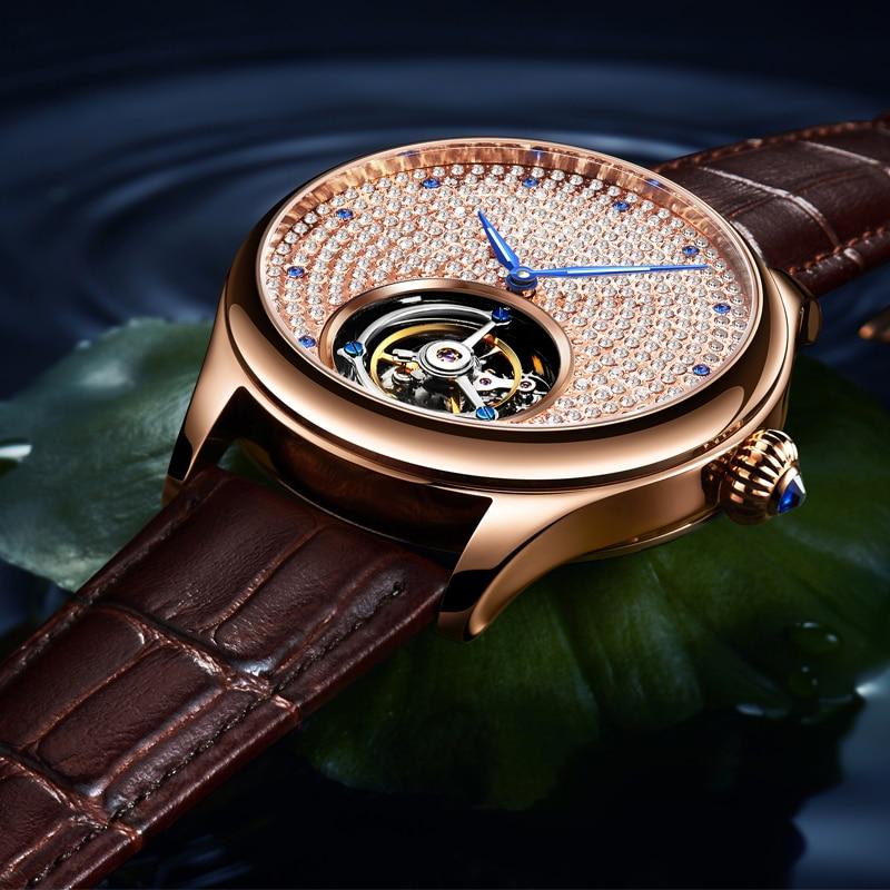 2019 Real Tourbillon Mechanical Hand Wind Sapphire Mens Watches Top Brand Luxury Rhinestone Clock men Gold Relogio Masculino 3