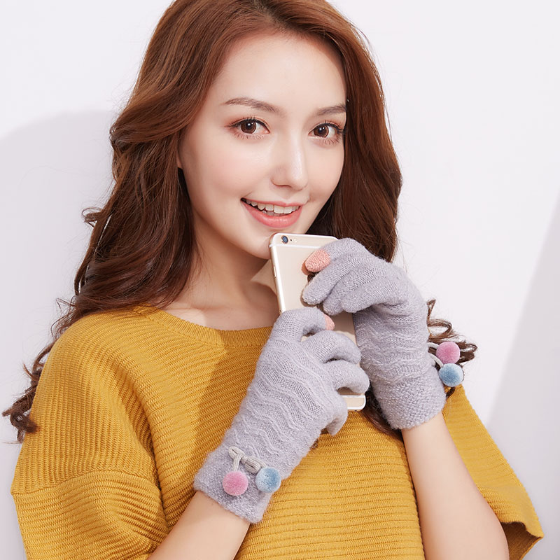New Arrival Touch Screen Gloves Ladies Winter Korean Knit Cashmere Mittens Students Warm Outdoor Students Cute Gloves B-6109