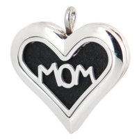 Amya 36mm Heart Mom Aromatherapy Essential Oils Stainless Steel Perfume Diffuser Locket Necklace with chain Pads