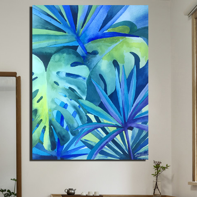 QKART Wall Decor Artwork Painting Tropical Rainforest Oil Painting On  Canvas Wall Pictures For Living Room