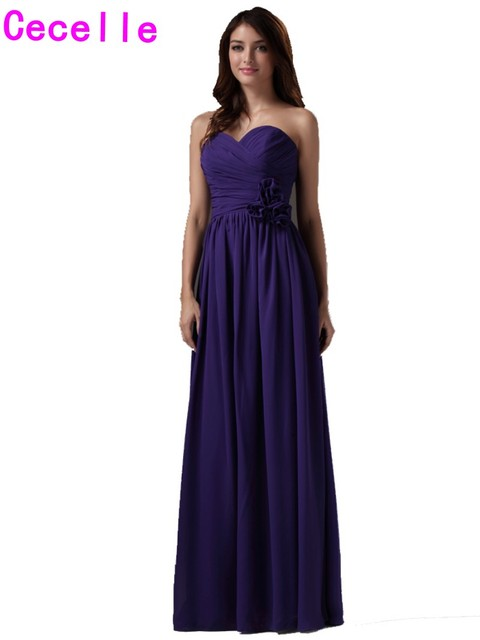Purple Long Beach Bridesmaids Dresses Sweetheart Boho Formal Floor Length A Line Wedding Bridesmaid