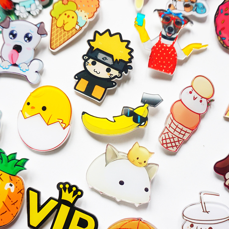 cartoon series dog banana beautiful gril acrylic Brooch Jacket backpack pin girl boy bag badge accessories