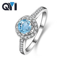 QYI-bijou fin en pierres précieuses argent sterling 100% pour femmes, bleu ciel naturel bagues en topaze, mode 925, cadeau de fête d'anniversaire